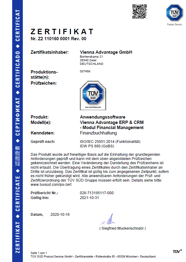TüV Süd Certificate for VIENNA Advantage